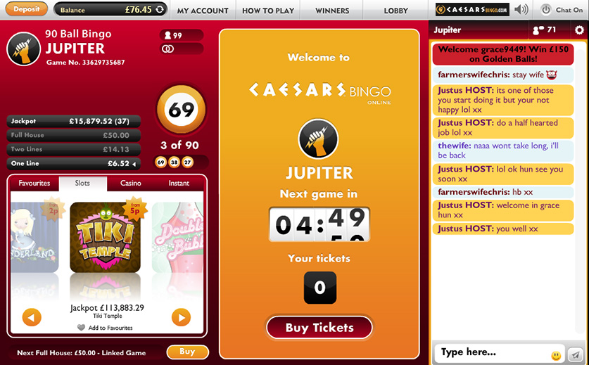A Screenshot of Caesars Bingo 90-Ball 'Jupiter' Room, large view
