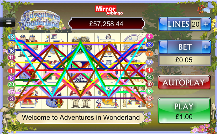 The 'Adventures in Wonderland' Slot Game, large view