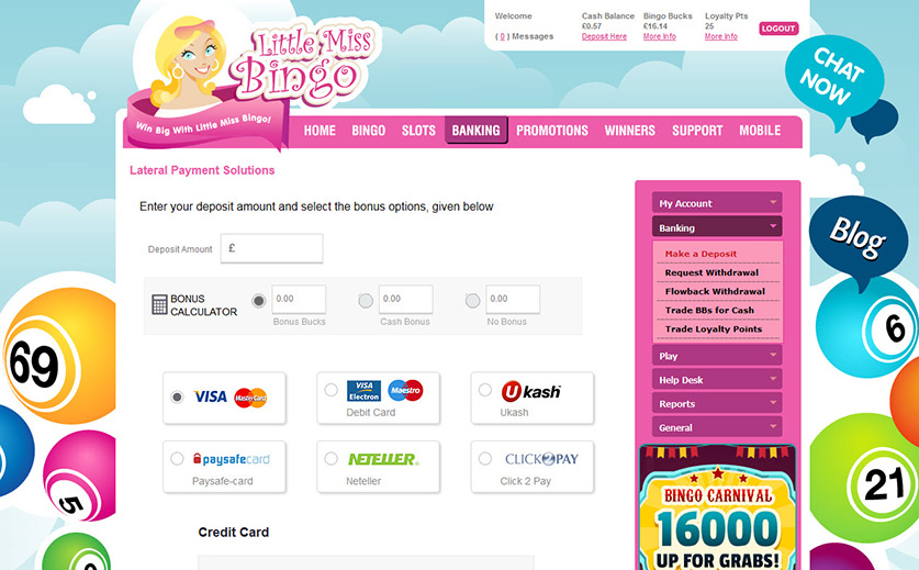 Banking Methods to Deposit and Withdraw Funds at Little Miss Bingo Large View