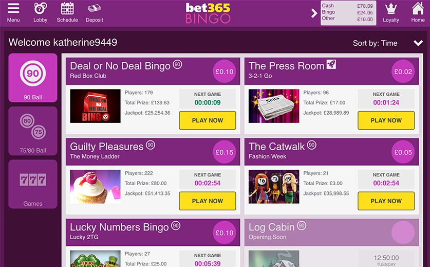 Bet365's Mobile Bingo Lobby-large view