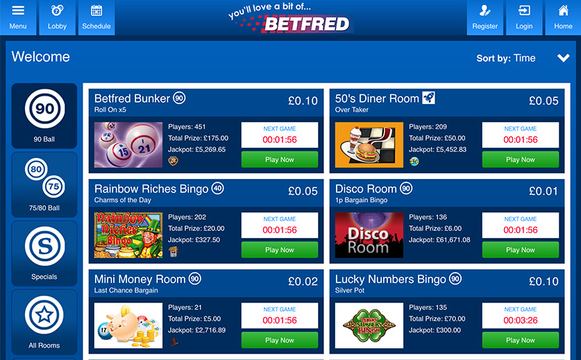 Explore the Mobile Bingo Lobby of Betfred , large view