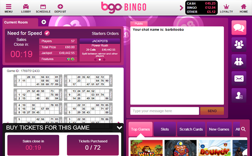 Play the 90-Ball 'Need for Speed' Bingo at BGO , large view