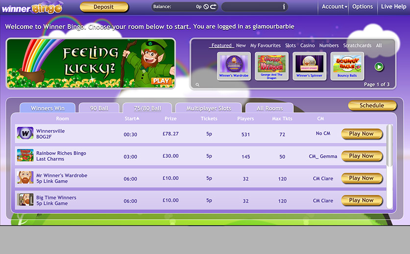 The bingo lobby at the desktop site of Winner, large view