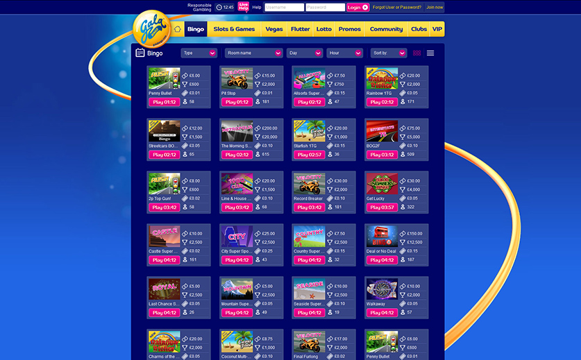 The bingo schedule at the desktop site of Gala, large view