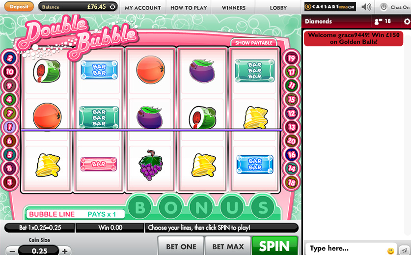 Try the Fun 'Double Bubble' Slot at Caesars Bingo, large view