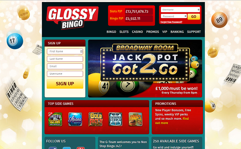 The landing page of Glossy, large view