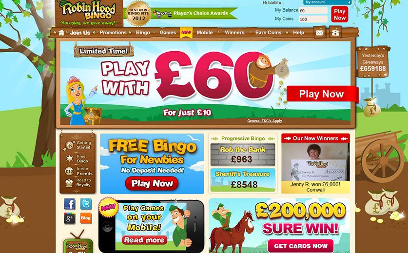 The home page of Robin Hood bingo, large view