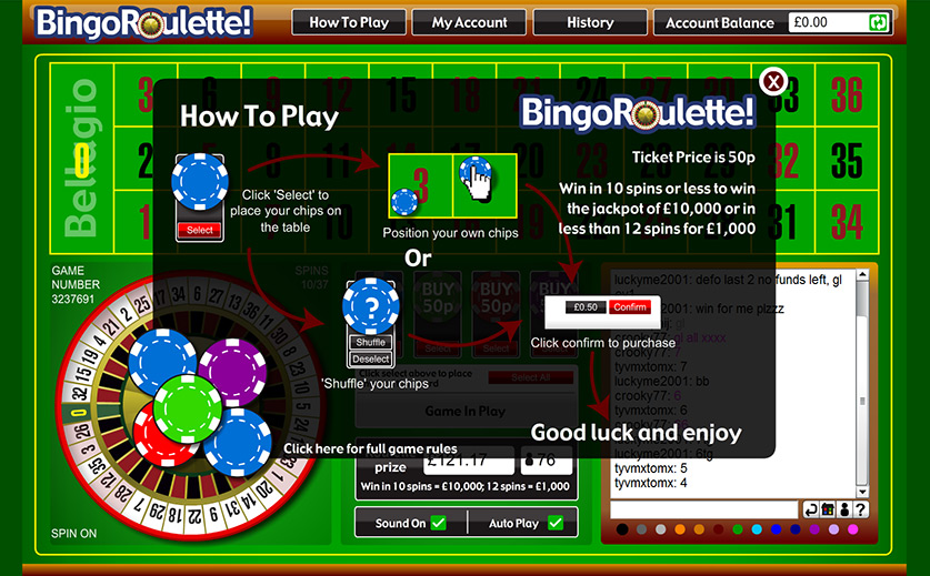 How to play Bingo Roulette at Tombola, large view