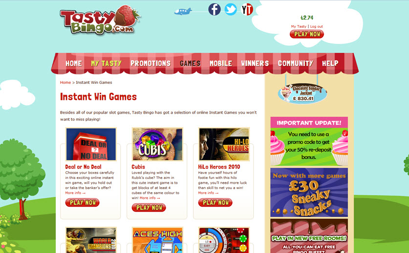 Instant Games Selection at Tasty Bingo, large view