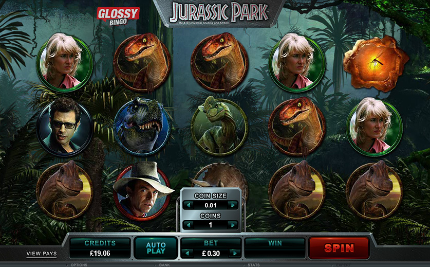 The popular Jurassic Park slot offered at Glossy, large view