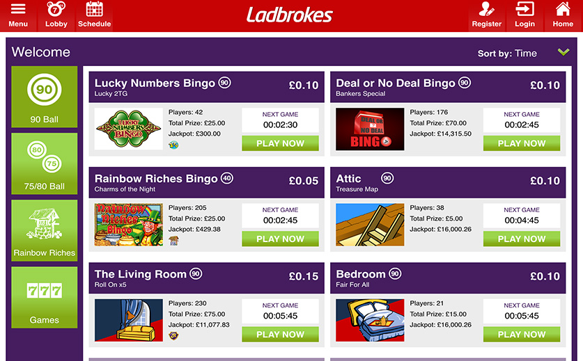 A Preview of Ladbrokes Bingo Mobile Lobby, large view