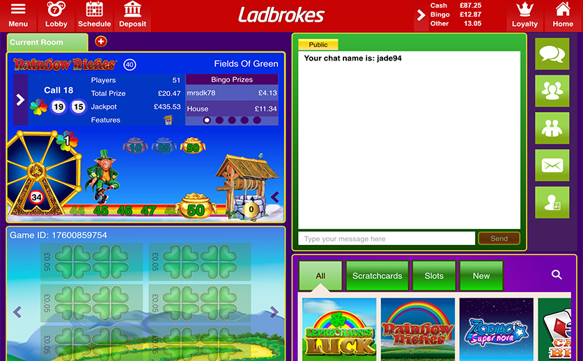 Special Bingo Variant – Rainbow Riches at Ladbrokes , large view