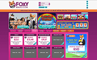 The lobby of the desktop site of Foxy bingo