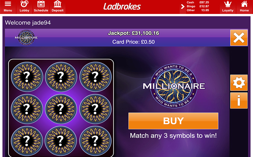The Newly-Added 'Millionaire Scratch' Game, large view
