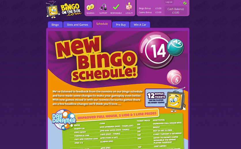 Games Schedule at Bingo on the Box, large view