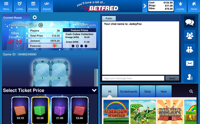 Play the Special Cash Cubes Bingo Game at Betfred, large view