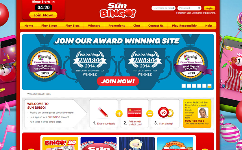 Home page of Sun Bingo, large view
