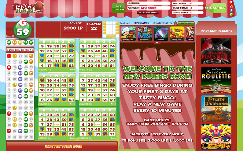 Free Games at Tasty Bingo, large view
